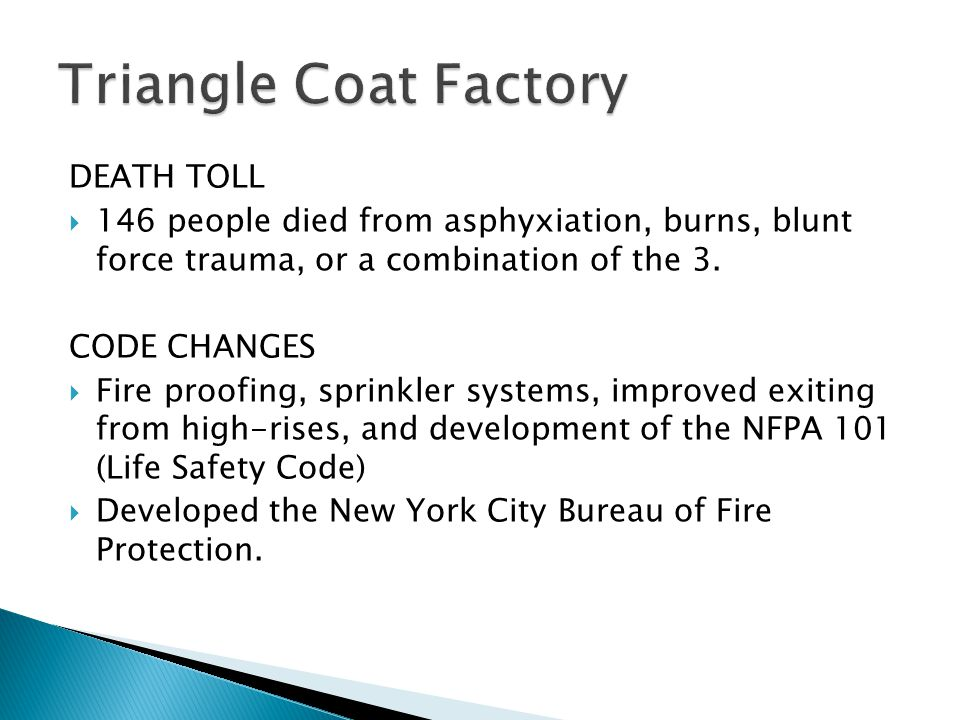 Triangle Coat Factory DEATH TOLL