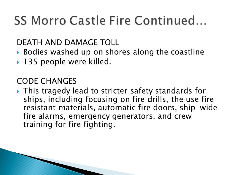 SS Morro Castle Fire Continued…