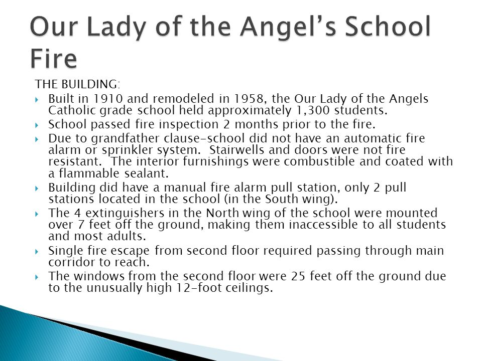 Our Lady of the Angel's School Fire