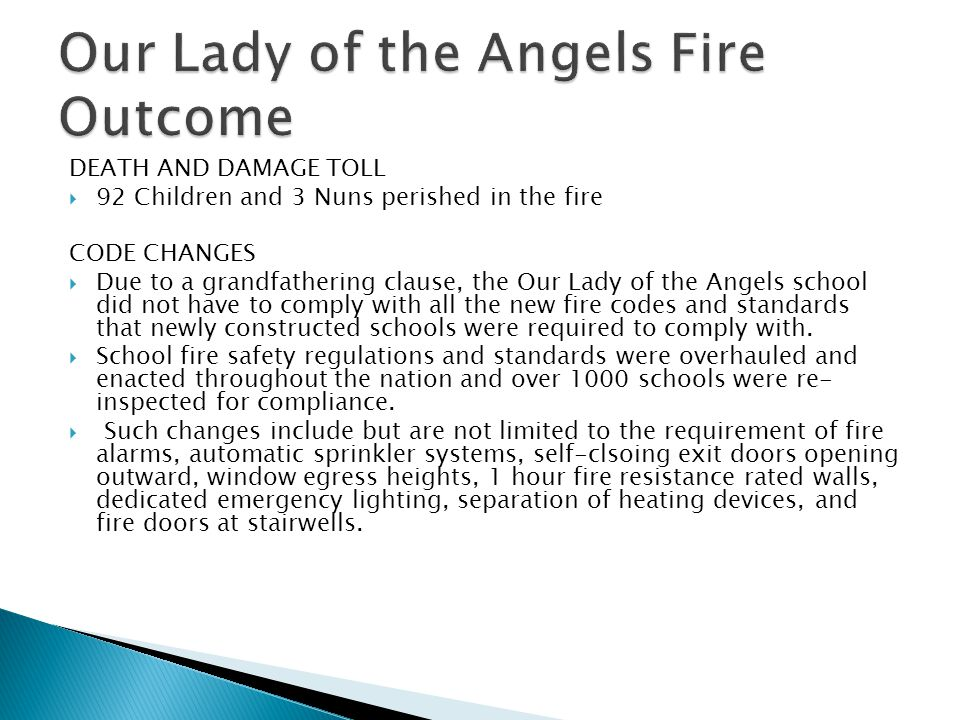 Our Lady of the Angels Fire Outcome