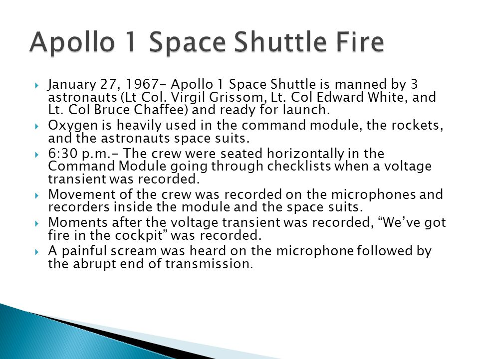 Apollo 1 Space Shuttle Fire