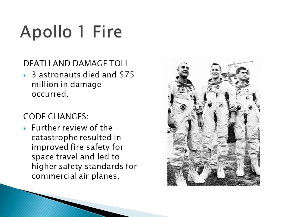 Apollo 1 Fire DEATH AND DAMAGE TOLL