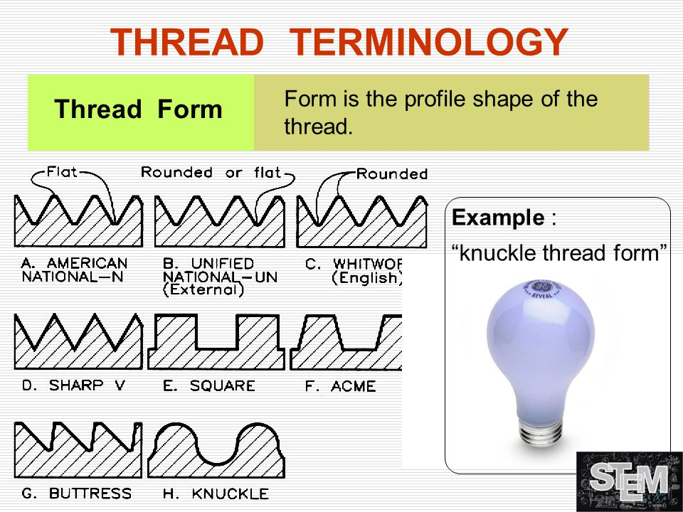 THREAD TERMINOLOGY Thread Form Form is the profile shape of the