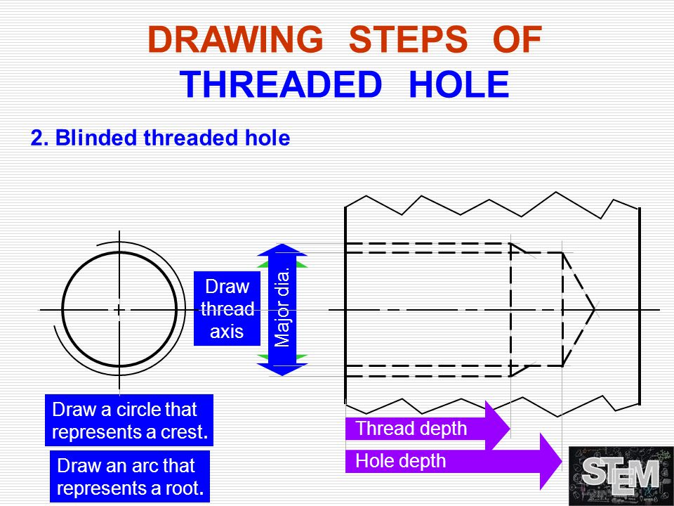 DRAWING STEPS OF THREADED HOLE