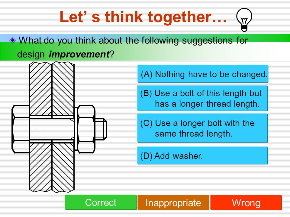 Let' s think together… What do you think about the following suggestions for. design improvement (A) Nothing have to be changed.