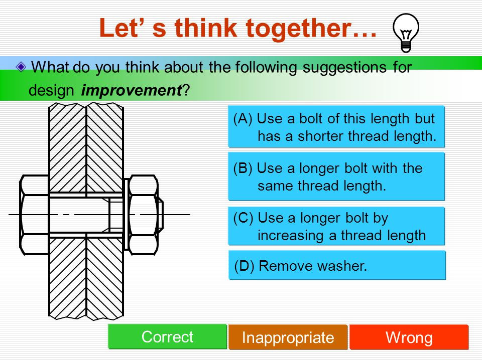 Let' s think together… What do you think about the following suggestions for design improvement