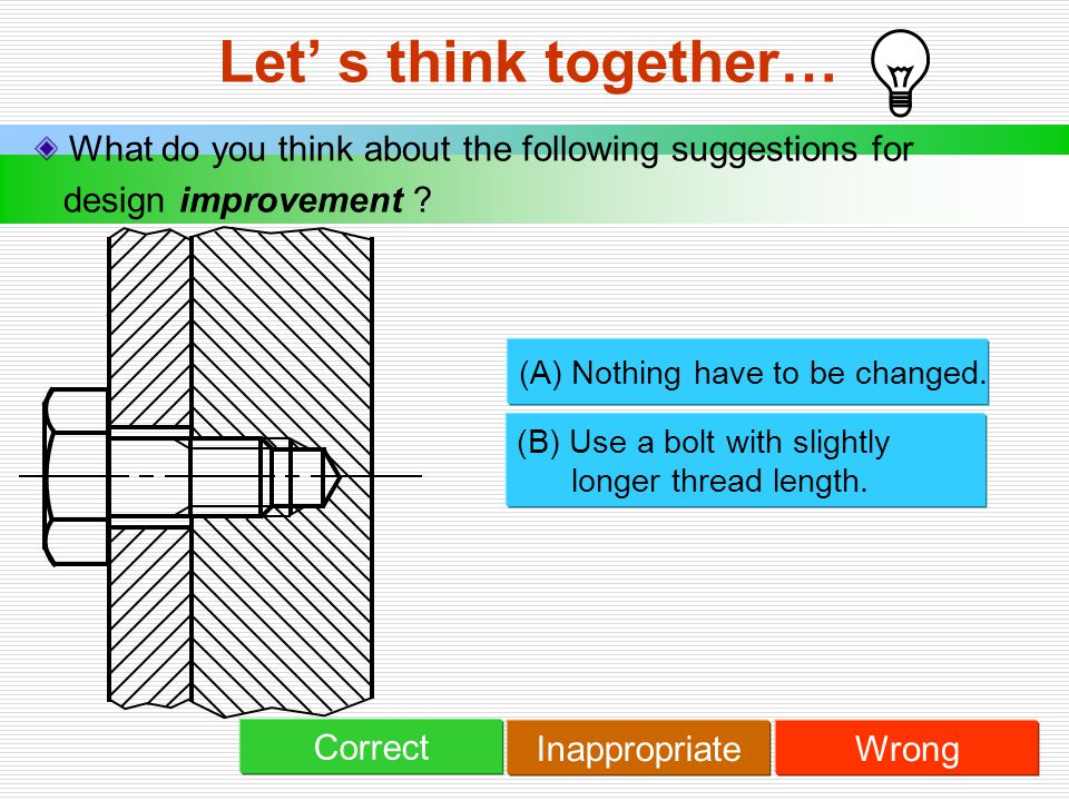 Let' s think together… What do you think about the following suggestions for. design improvement
