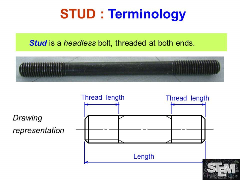 STUD : Terminology Stud is a headless bolt, threaded at both ends.