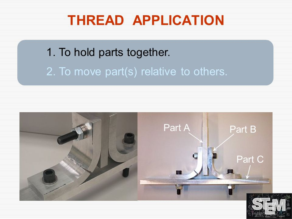 THREAD APPLICATION 1. To hold parts together.