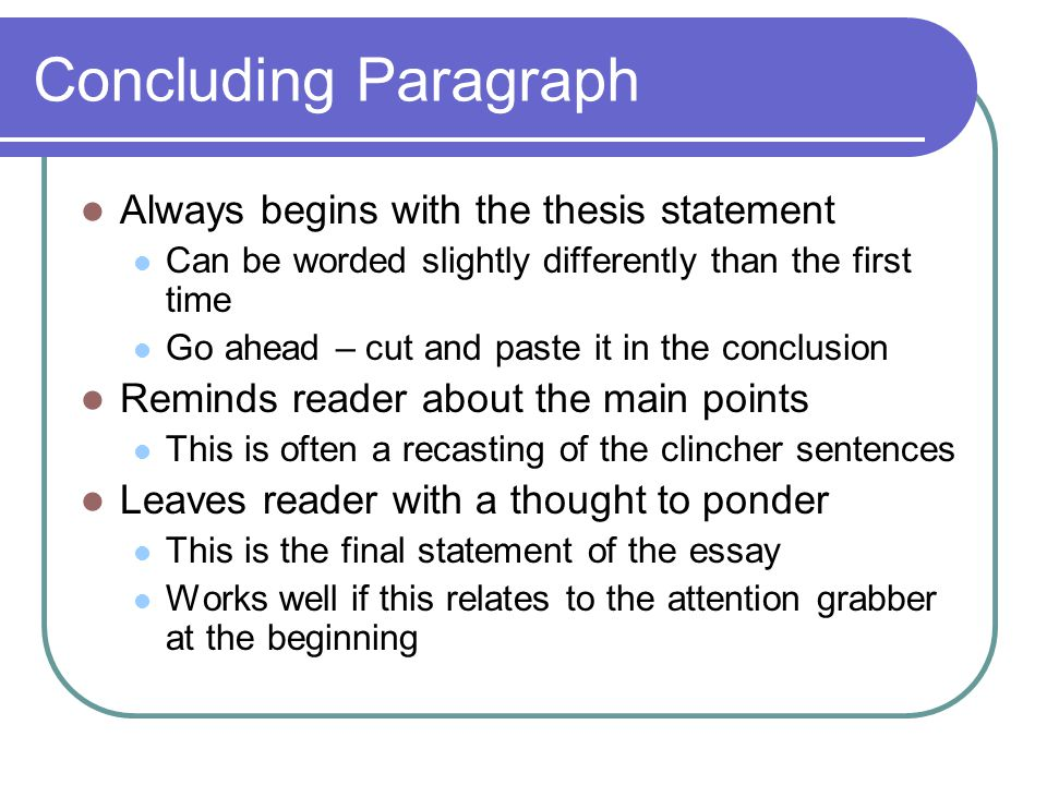 Concluding Paragraph Always begins with the thesis statement