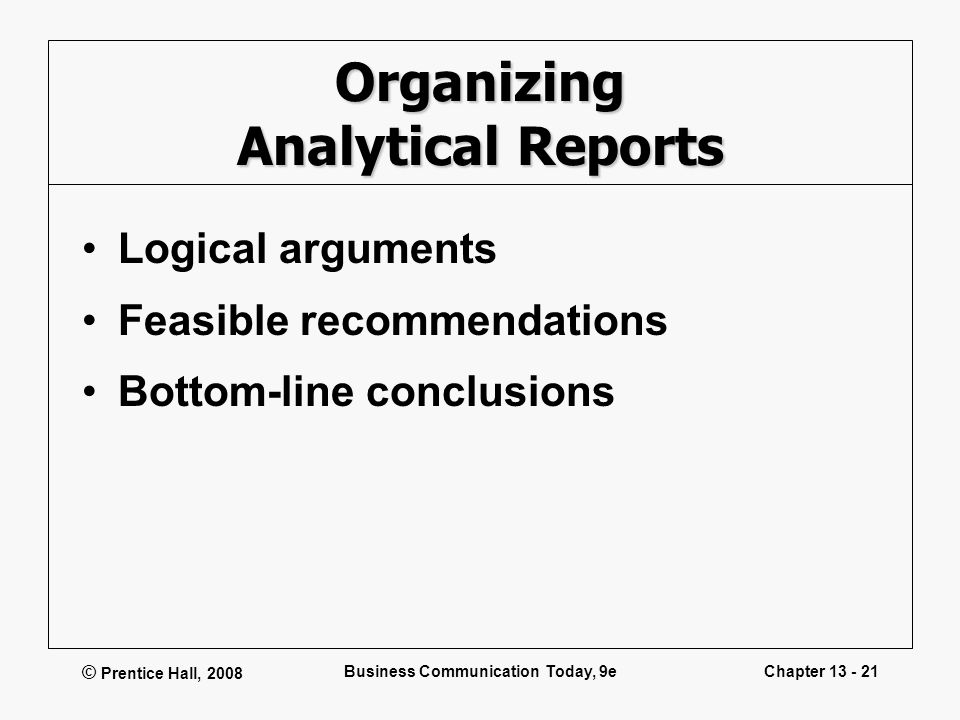 Organizing Analytical Reports