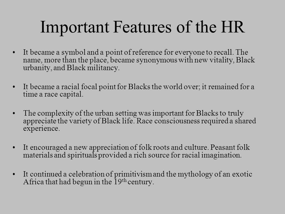 Important Features of the HR
