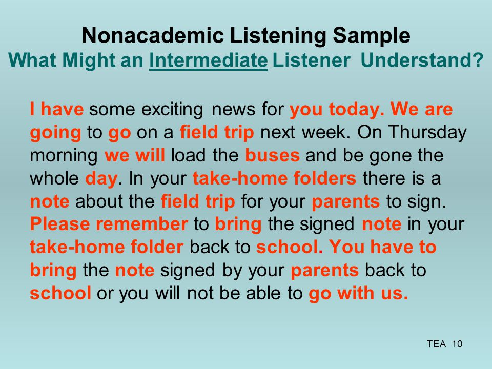 Nonacademic Listening Sample What Might an Intermediate Listener Understand