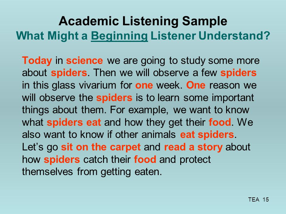 Academic Listening Sample What Might a Beginning Listener Understand