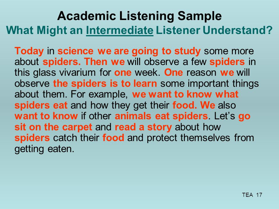 Academic Listening Sample What Might an Intermediate Listener Understand