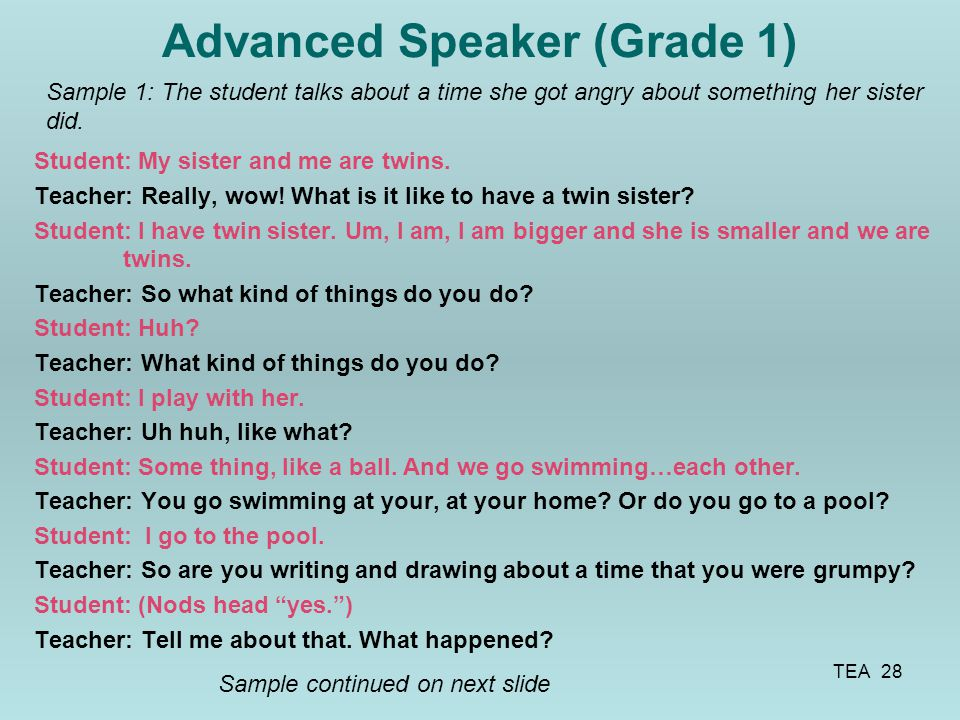 Advanced Speaker (Grade 1)
