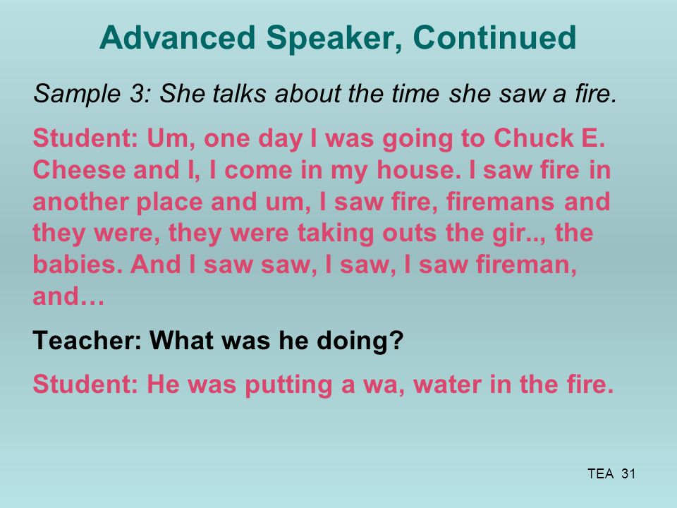 Advanced Speaker, Continued