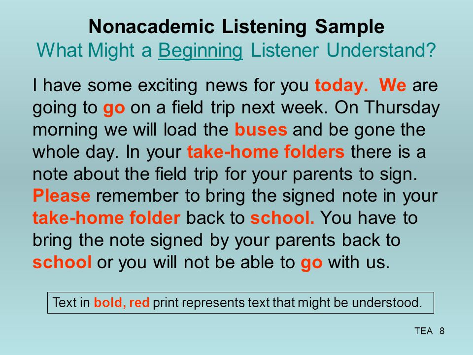 Nonacademic Listening Sample What Might a Beginning Listener Understand