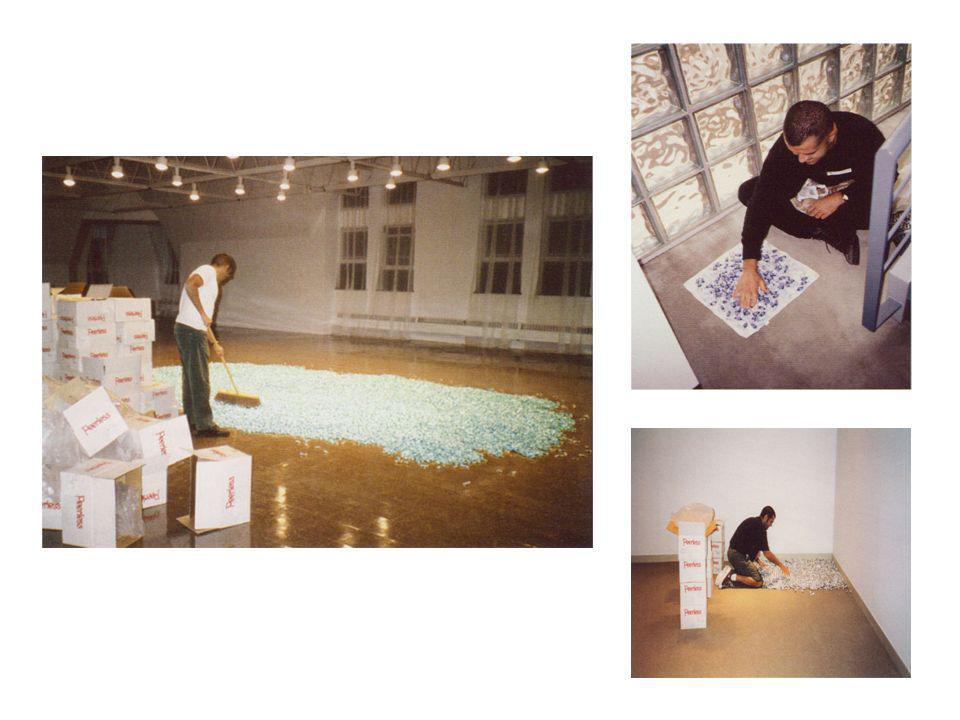 These are photos of Felix Gonzalez-Torres preparing for his candy pieces.