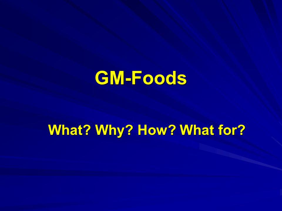 GM-Foods What Why How What for