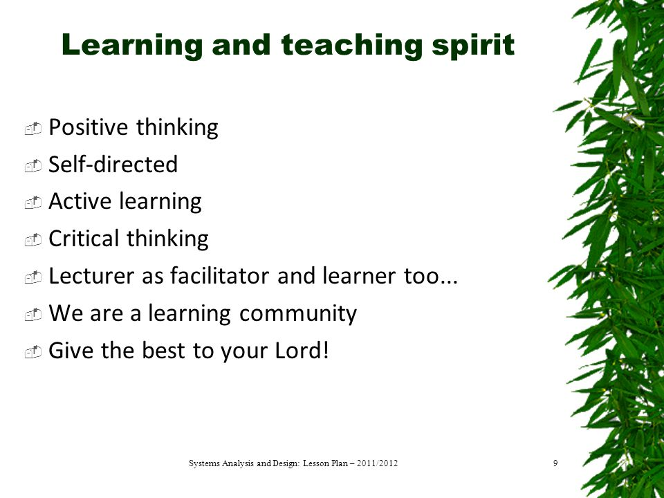 Learning and teaching spirit