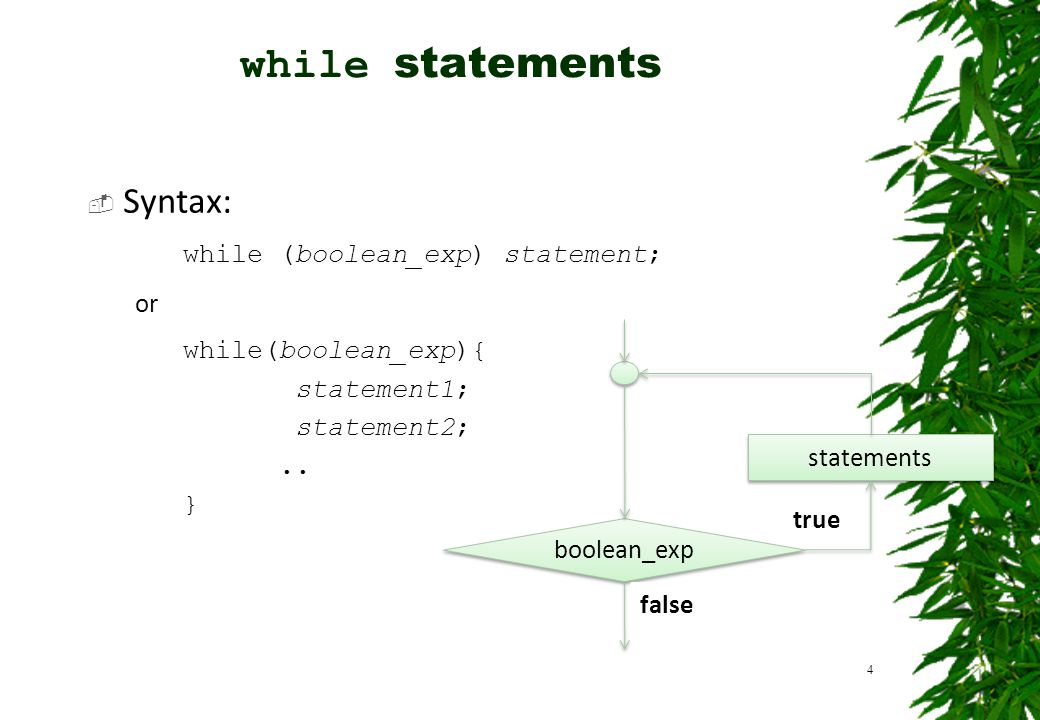 while statements Syntax: while (boolean_exp) statement; or