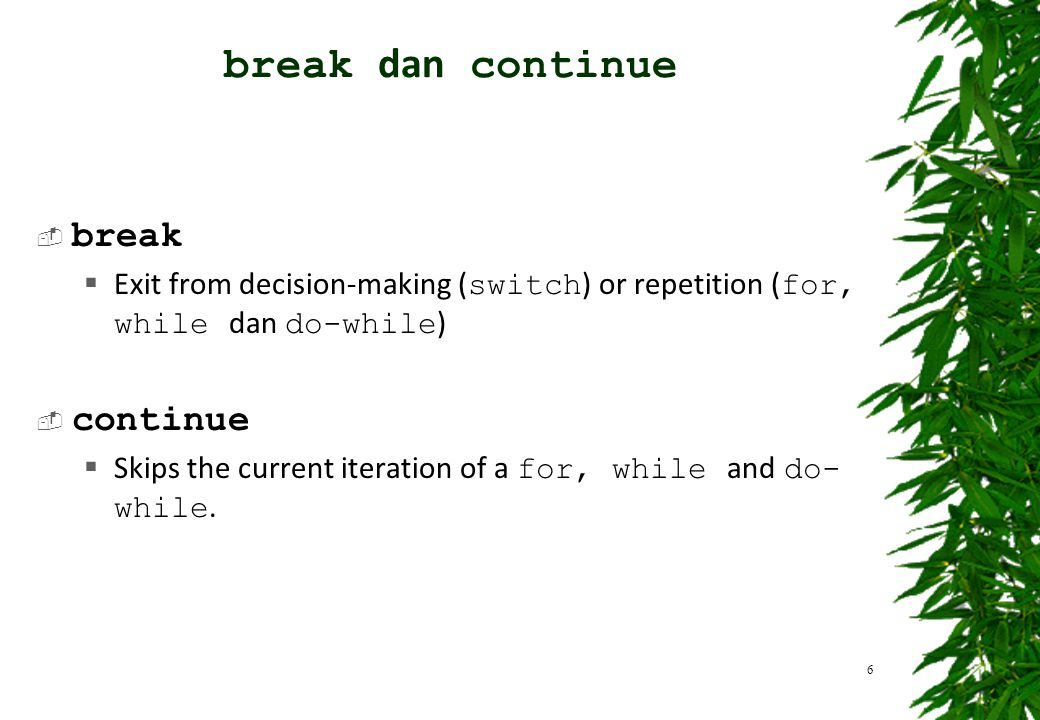 break dan continue break continue