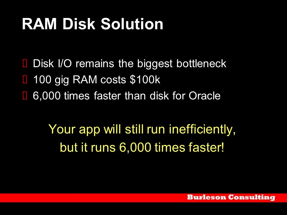RAM Disk Solution Your app will still run inefficiently,