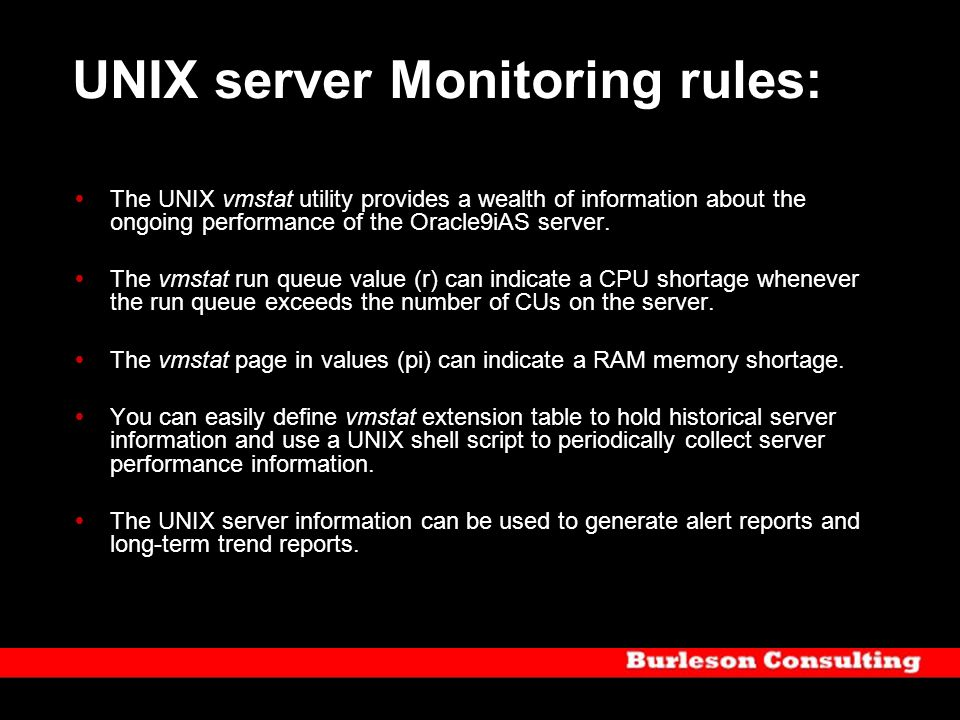 UNIX server Monitoring rules: