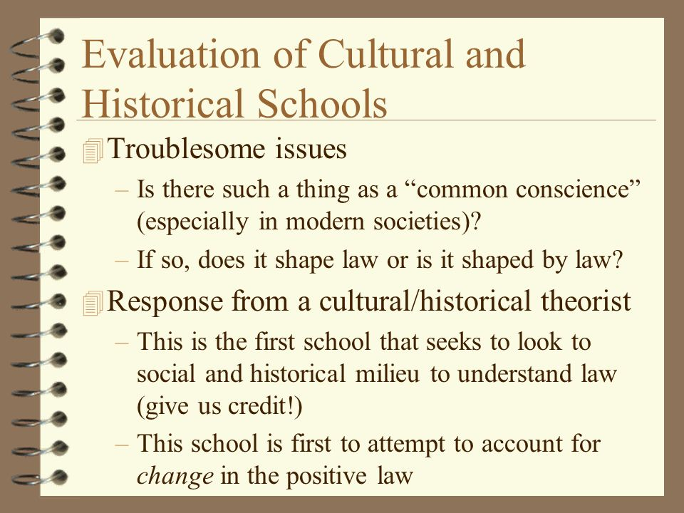 Evaluation of Cultural and Historical Schools