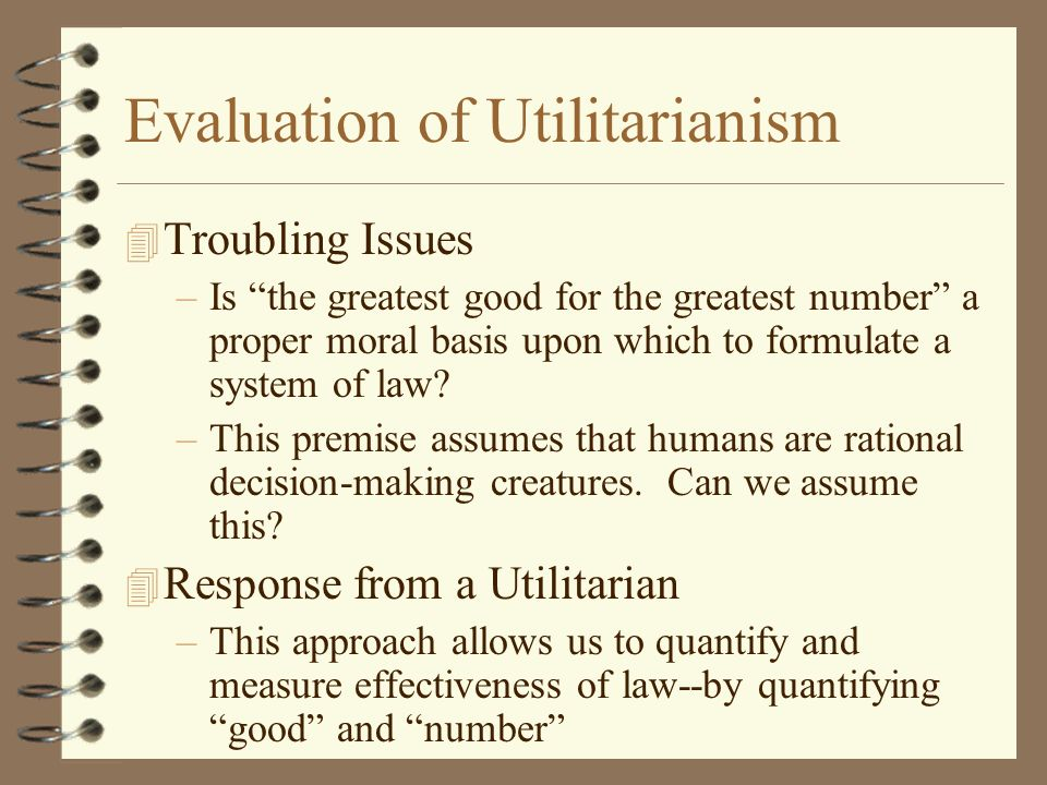 Evaluation of Utilitarianism