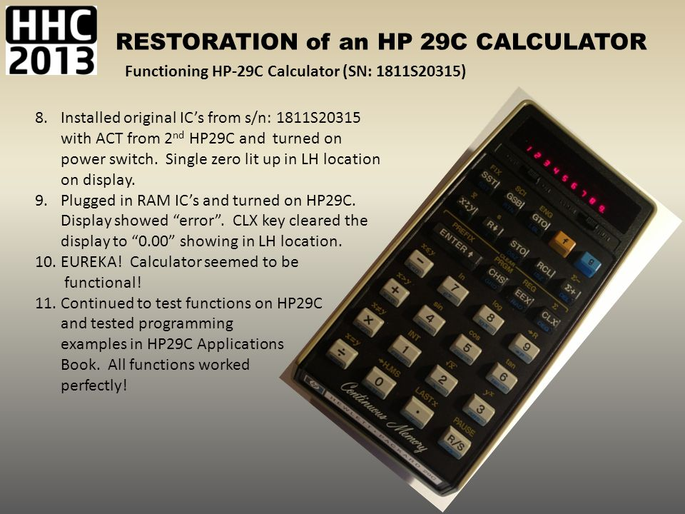 Functioning HP-29C Calculator (SN: 1811S20315)