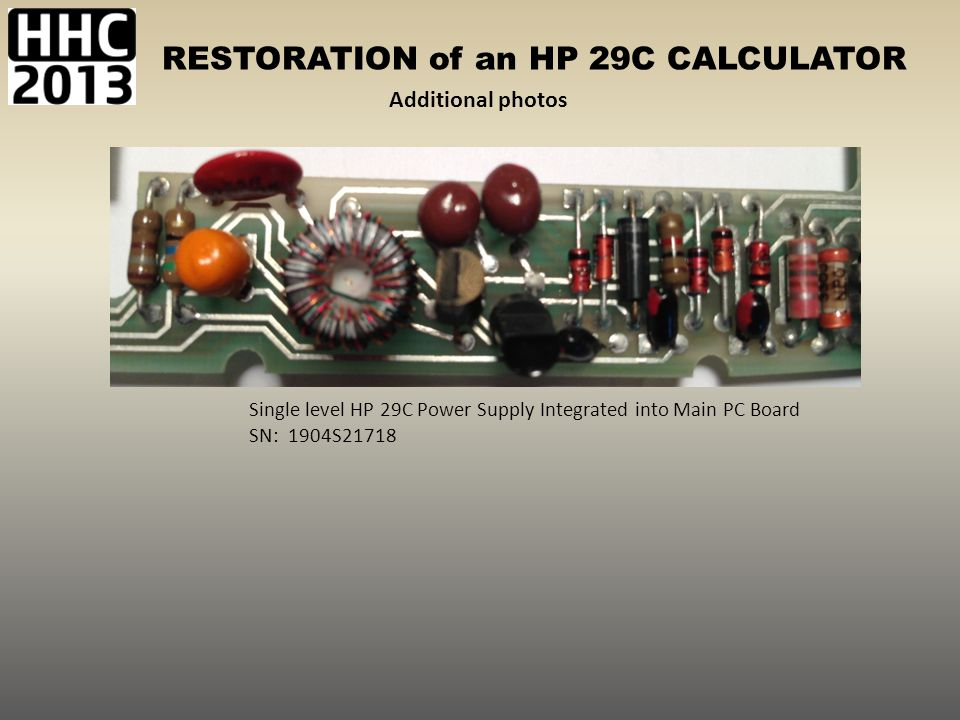 Additional photos Single level HP 29C Power Supply Integrated into Main PC Board SN: 1904S21718