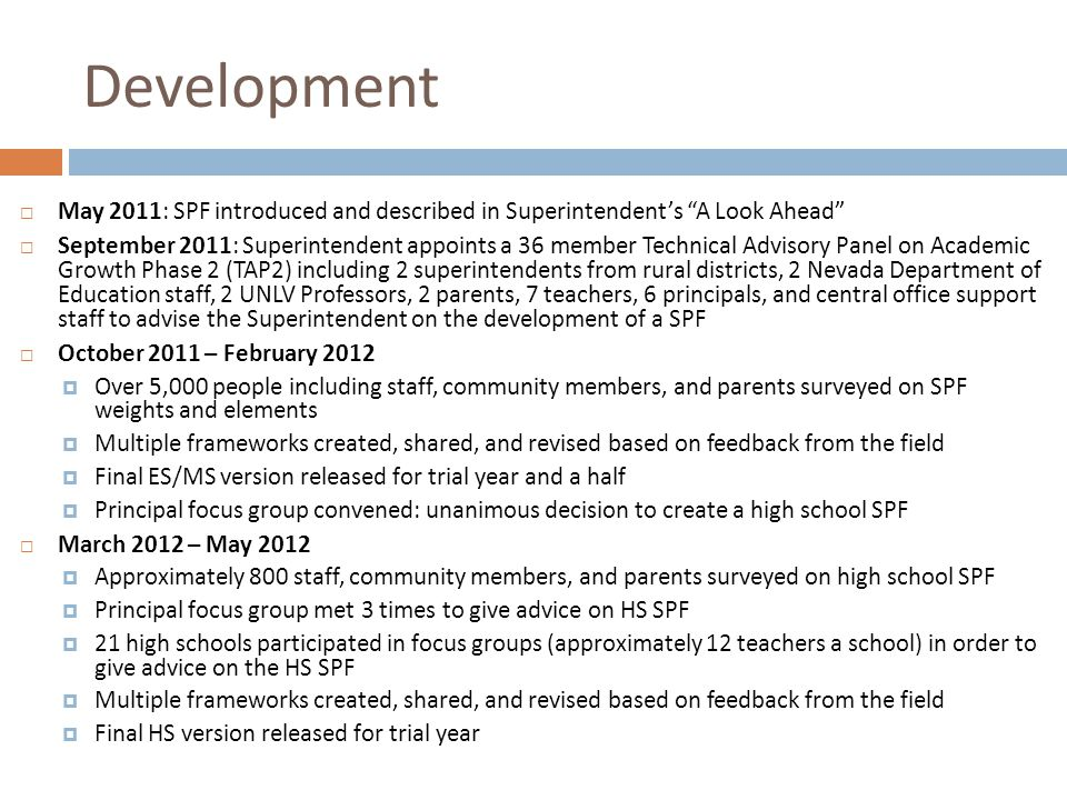 Development May 2011: SPF introduced and described in Superintendent's A Look Ahead