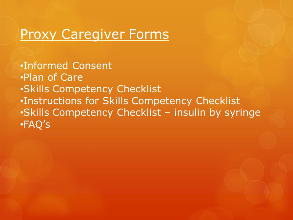 Proxy Caregiver Forms Informed Consent Plan of Care