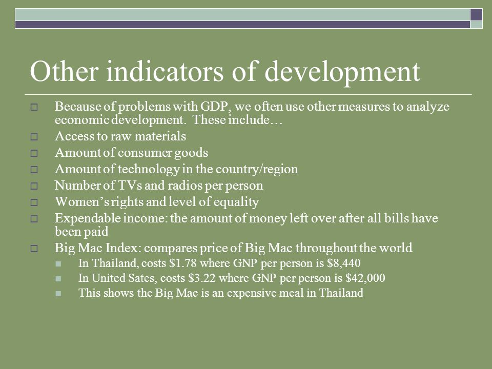 Other indicators of development