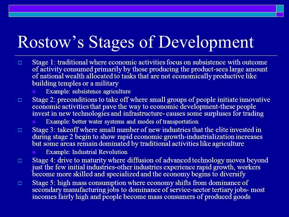 Rostow's Stages of Development