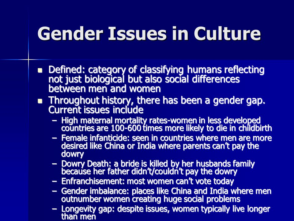 Gender Issues in Culture