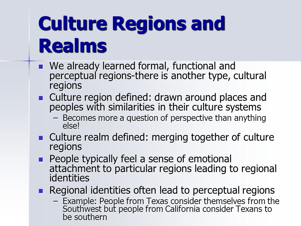 Culture Regions and Realms