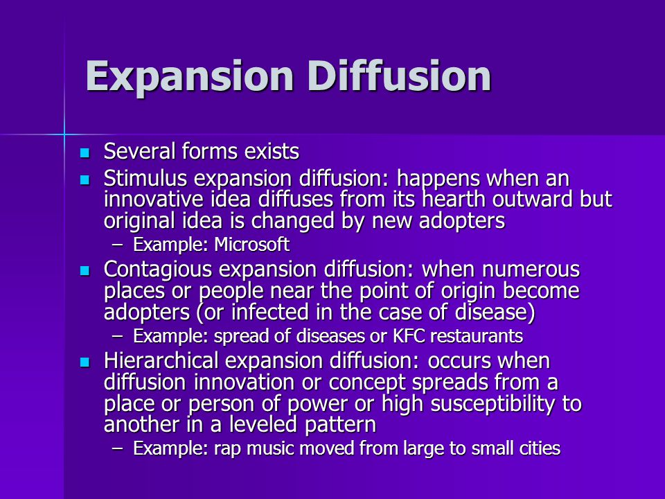 Expansion Diffusion Several forms exists