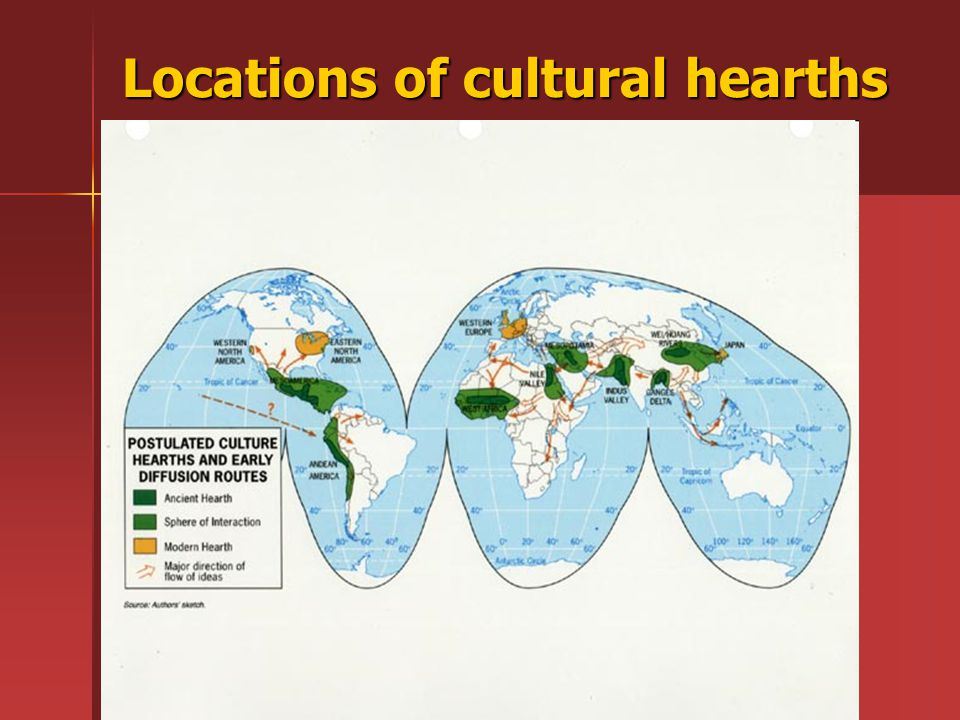 Locations of cultural hearths