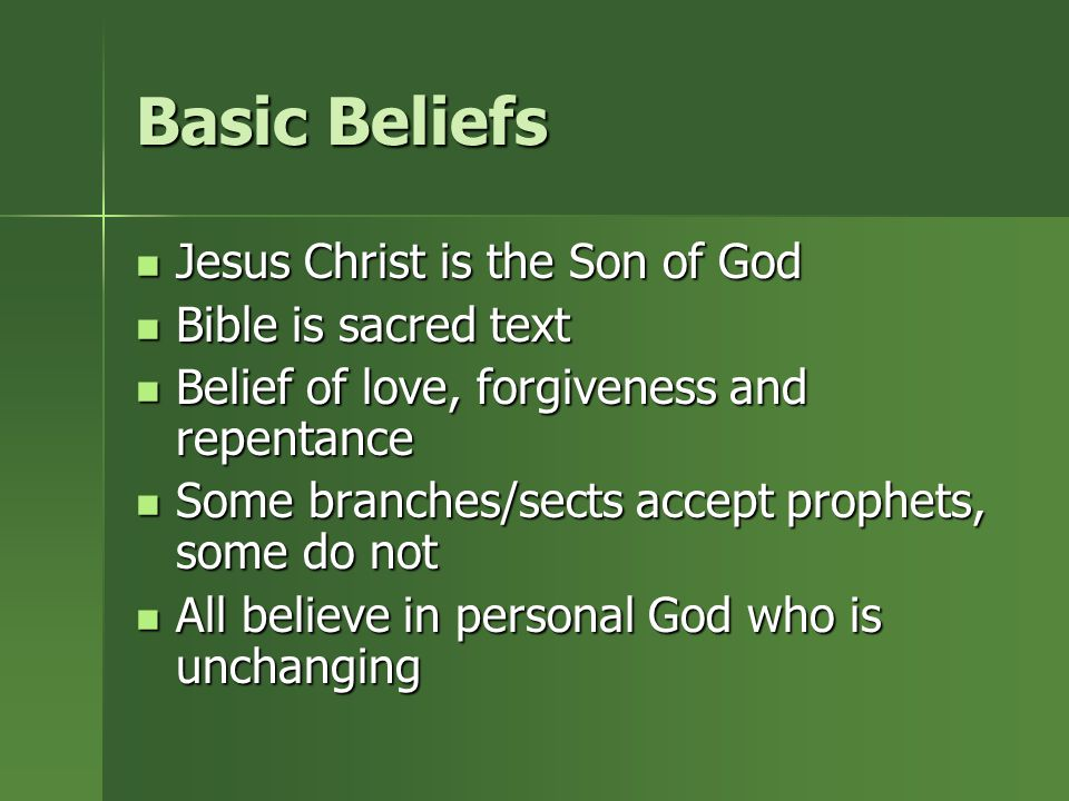 Basic Beliefs Jesus Christ is the Son of God Bible is sacred text