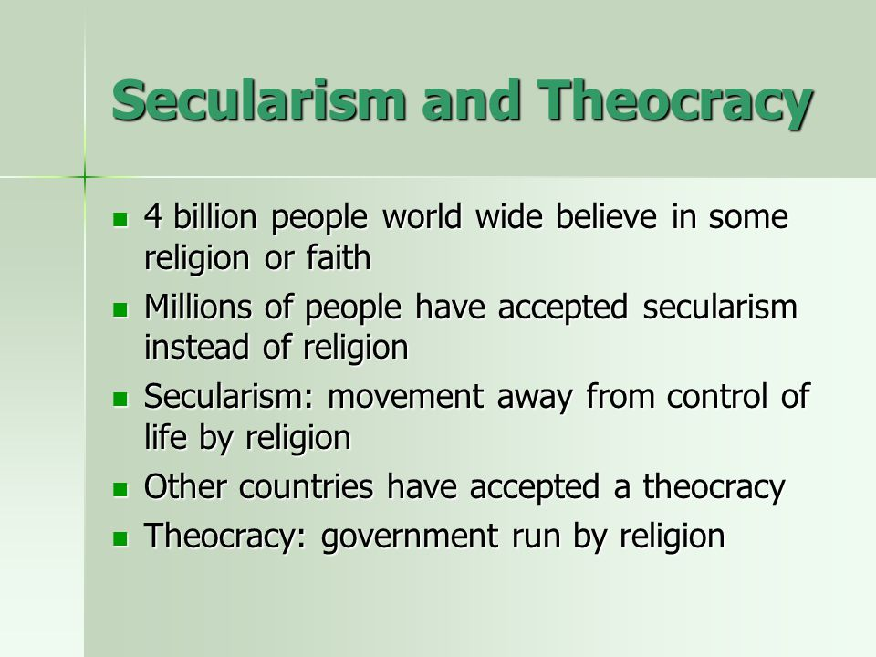 Secularism and Theocracy