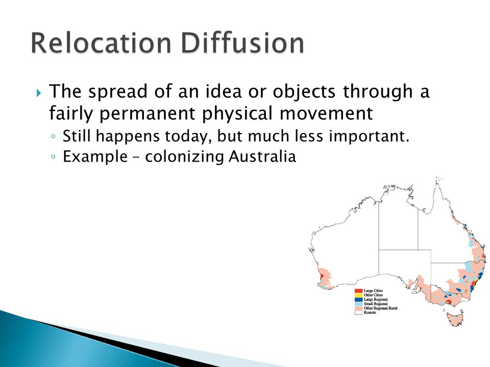 Relocation Diffusion The spread of an idea or objects through a fairly permanent physical movement.