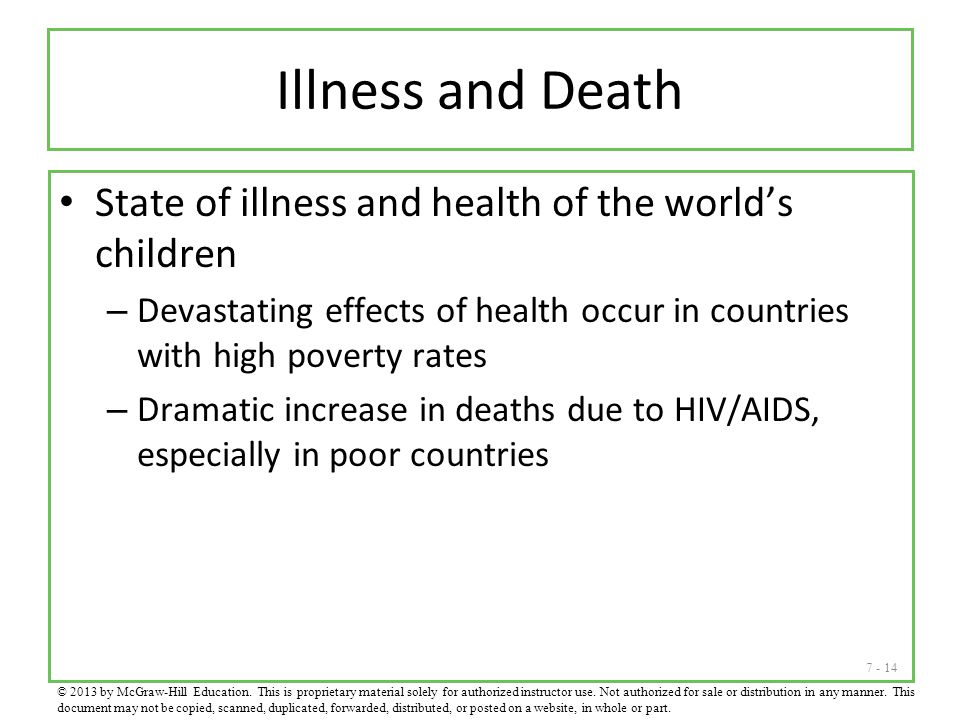 Illness and Death State of illness and health of the world's children