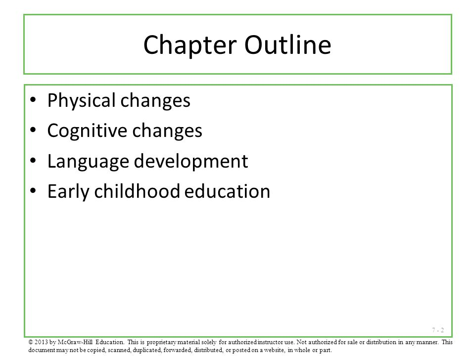 Chapter Outline Physical changes Cognitive changes