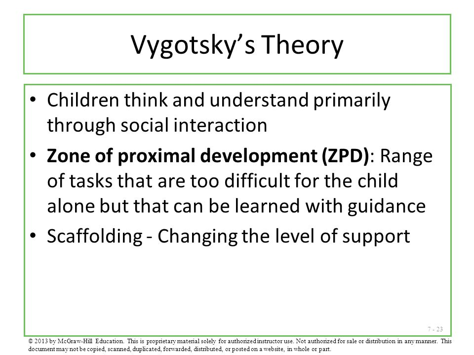 Vygotsky's Theory Children think and understand primarily through social interaction.