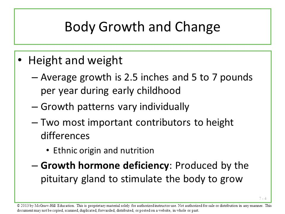Body Growth and Change Height and weight