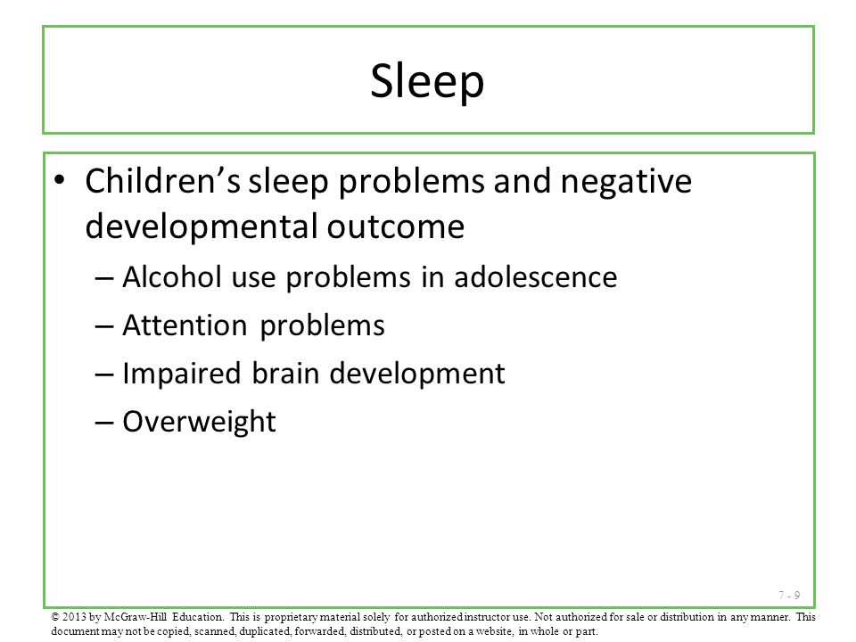 Sleep Children's sleep problems and negative developmental outcome