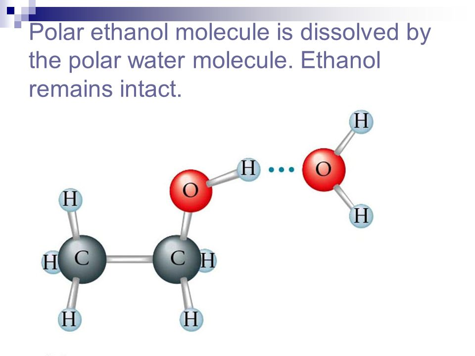 Polar ethanol molecule is dissolved by the polar water molecule